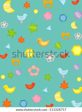 illustration of wallpaper baby toys #113328757