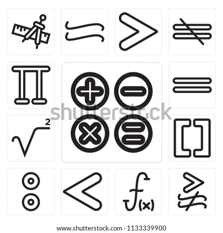 Set Of 13 simple editable icons such as Calculator buttons interface, Greater and not approximately equal to, Function, Is less than, Reason, Brackets grouping, Square root, web ui icon pack #1133339900