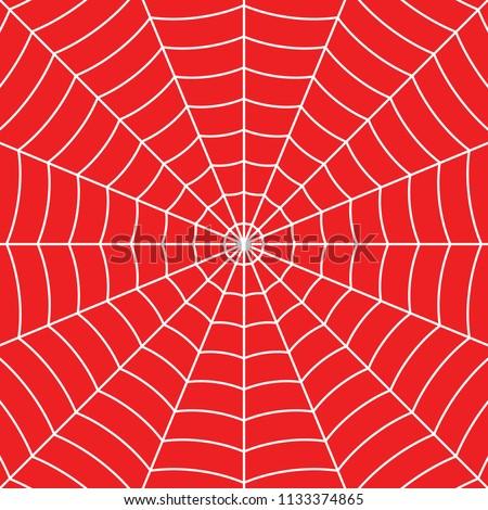 White Cobweb on Red background. Vector illustration