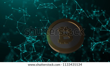 Bitcoin coin and many network connections, computer generated abstract technology background, 3d render backdrop #1133435534
