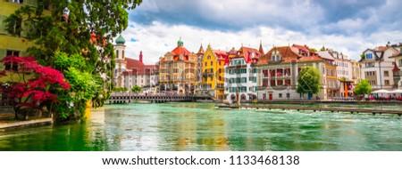 Beautiful river cityscape of Lucerne, Switzerland #1133468138