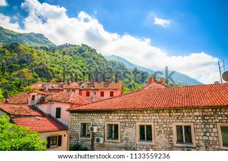 Beautiful narrow streets of old town Kotor, Montenegro. #1133559236
