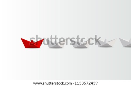 Leadership concept. Red and white paper boats. business concept. illustration design graphic #1133572439