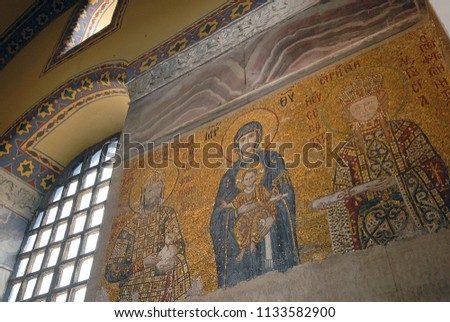 Mosaic of Virgin Mary and Jesus Christ and other Saints in the Hagia Sofia church, Istanbul, Turkey. 2013 #1133582900