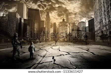 A soldier and a child stand on the road of a ruined city under a scary sky. Royalty-Free Stock Photo #1133611427