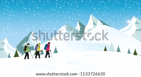 Mountain climbers with backpacks walking through heavy snow in winter season, Climbing and mountaineering sport, cartoon vector illustration.