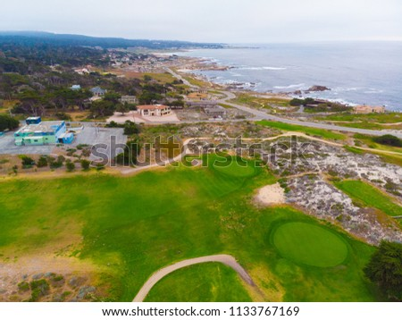 Aerial View of Pacific Grove Golf Course  #1133767169