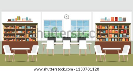 Modern library interior with bookshelves,wooden desks, office chairs and computers, vector illustration.