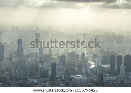 panoramic city skyline in shanghai china #1133796425