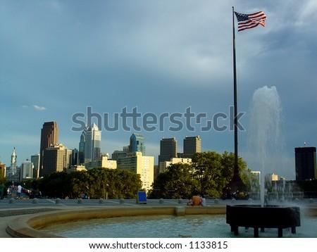 Philadelphia skyline, from the Art Museum steps