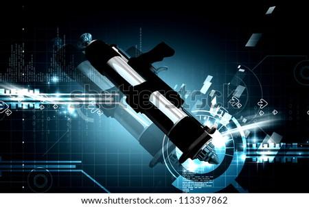Digital illustration of spray gun in colour background #113397862