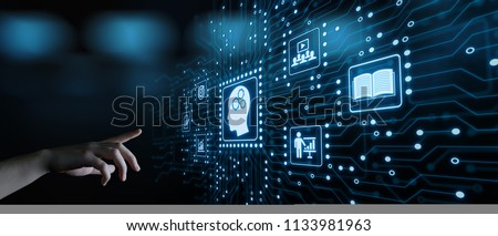 E-learning Education Internet Technology Webinar Online Courses concept. Royalty-Free Stock Photo #1133981963