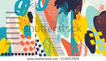 Creative doodle art header with different shapes and textures. Collage. Vector #1134013904