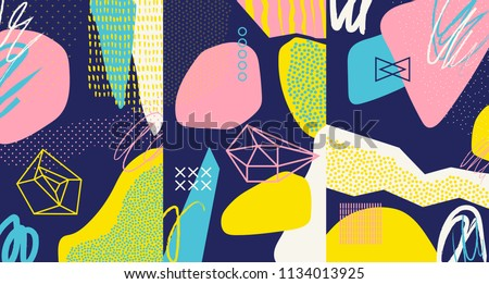 Creative doodle art header with different shapes and textures. Collage. Vector #1134013925