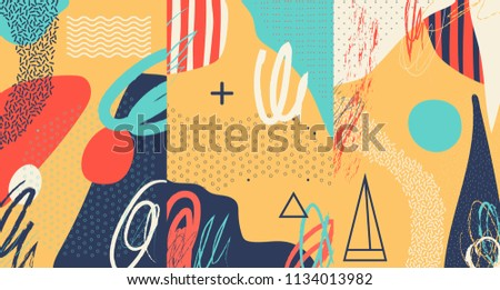 Creative doodle art header with different shapes and textures. Collage. Vector #1134013982