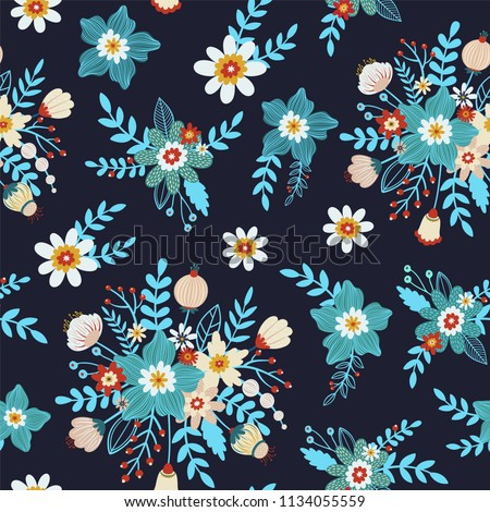 Folk floral seamless pattern in trendy modern style with different colorful flowers, branches and berries on a dark background. Perfect for textile, background, paper. #1134055559