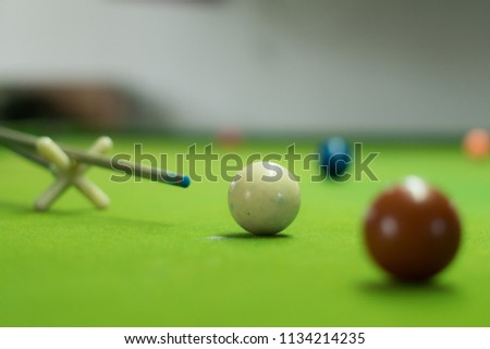 snooker ball on the green snooker table. #1134214235