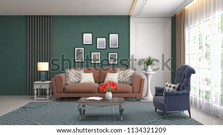 Interior of the living room. 3D illustration #1134321209