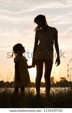 Family of parents and children silhouettes at sunset outdoors #1134329762