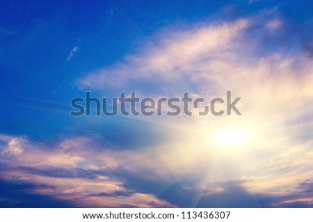 dramatic blue sky and clouds #113436307