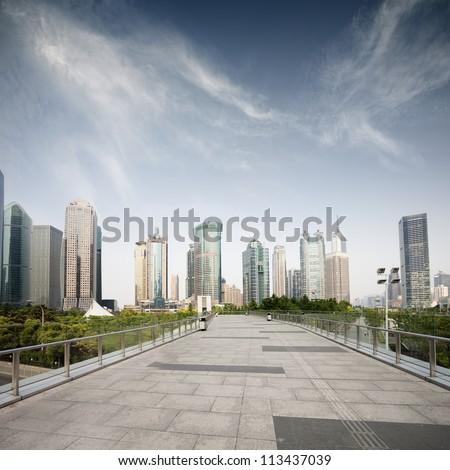 way to modern city in shanghai #113437039