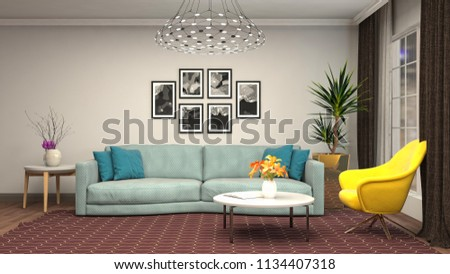 Interior of the living room. 3D illustration #1134407318