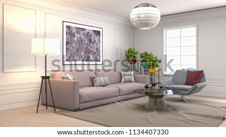 Interior of the living room. 3D illustration #1134407330