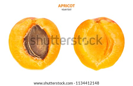 Isolated apricots. Fresh apricot fruit isolated on white background. Tropical abstract background. Fresh fruits. Place for your text. #1134412148