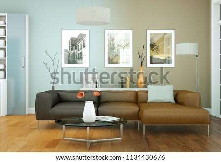 modern bright living room interior design 3d Illustration #1134430676
