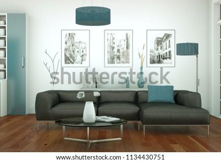 modern bright living room interior design 3d Illustration #1134430751