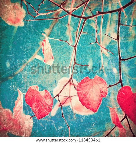 Autumn Pink Heart Leafs on blue textured sky