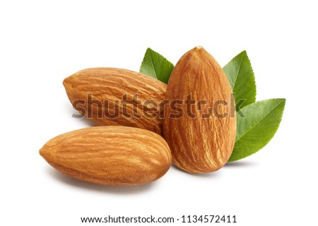 Close-up of three almonds, isolated on white background #1134572411