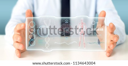 View of a Businessman holding a Futuristic template interface hud #1134643004