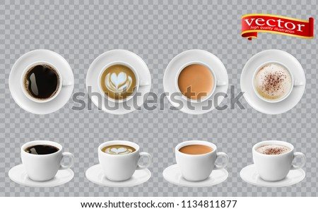 3d realistic different sorts of coffee in white cups view from the top and side. Cappuccino latte americano espresso cocoa in realistic cups. 3d model for cafe menu. #1134811877