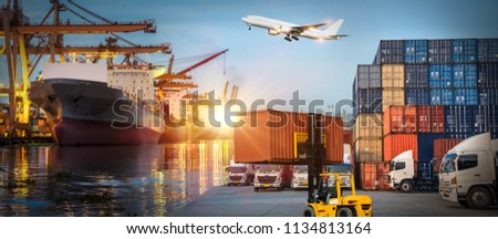 Logistics and transportation of Container Cargo ship and Cargo plane with working crane bridge in shipyard at sunrise, logistic import export and transport industry background #1134813164