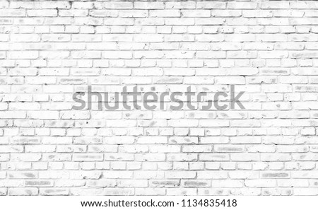 white brick wall background in rural room #1134835418
