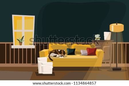 living room with cat on sofa vector illustration  #1134864857