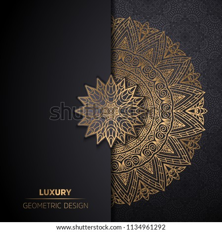 luxury ornamental mandala design background in gold color Royalty-Free Stock Photo #1134961292