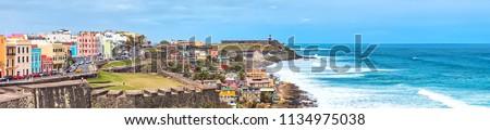 Panorama of San Juan, Puerto Rico Coastline Royalty-Free Stock Photo #1134975038