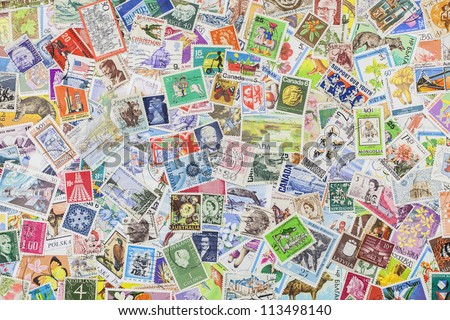 Postage stamps from different countries and times #113498140