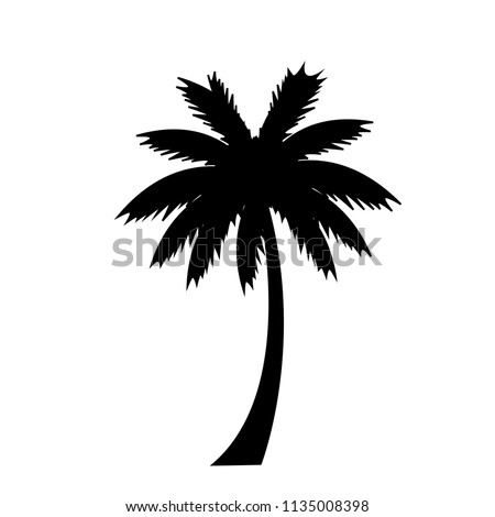 black silhouette illustration of palm tree icon isolated on white background.