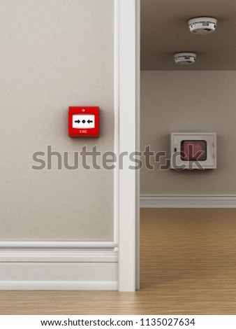 Fire button, smoke detectors and hose on the wall. 3D illustration. #1135027634