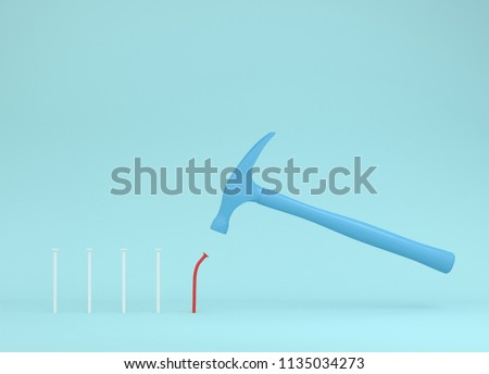 Hammer is hitting red nails on blue pastel background. from beginner to skilled expert. training skill. smashing of successful training and persistence. minimal skill level concept. #1135034273