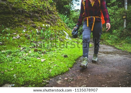 Woman asian travel nature. Travel relax. Walk study the path Nature in the forest #1135078907
