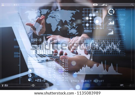Investor analyzing stock market report and financial dashboard with business intelligence (BI), with key performance indicators (KPI).Business team meeting. Photo professional investor working. #1135083989