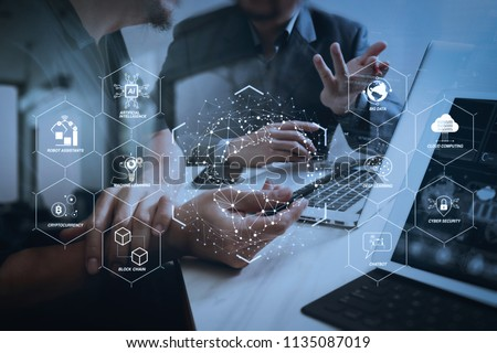 Futuristic in Industry 4.0 and business virtual diagram with Ai, robot assistant, Cloud, big data and automation. Business team meeting. Photo professional investor working new start up project. #1135087019