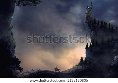 fantasy landscape with castle on cliff and hill in sunset sky background