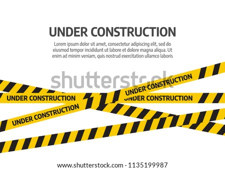 Under construction website page. Under construction tape warning banner vector Royalty-Free Stock Photo #1135199987