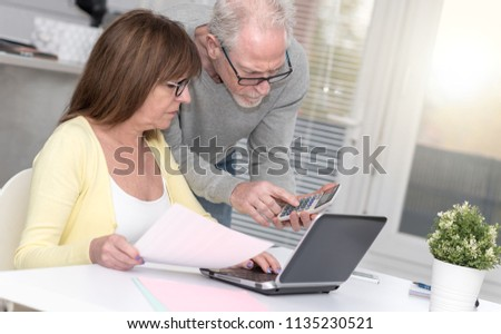 Senior couple checking financial document at home #1135230521
