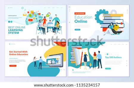 Set of web page design templates for e-learning, online education, e-book. Modern vector illustration concepts for website and mobile website development.  Royalty-Free Stock Photo #1135234157